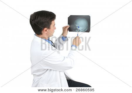 roentgenogram film and doctor at white background