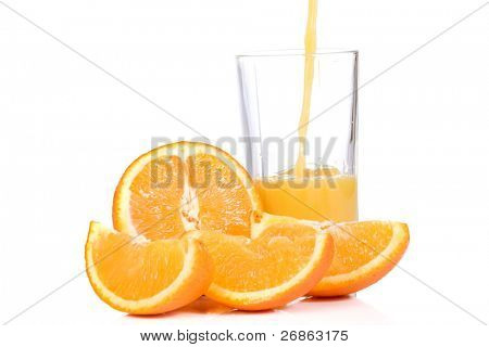 tasty orange and outpouring juice