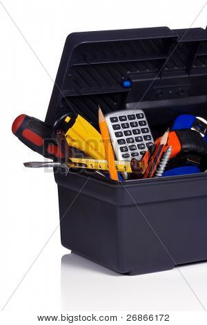 set of tools in black plastic box
