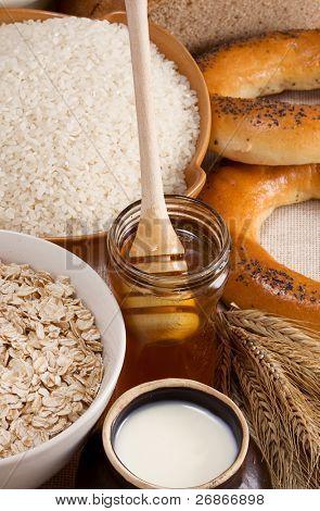 avena, arroz, miel, leche en la olla y spike en saqueo