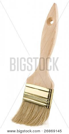 wooden paintbrush isolated on white background