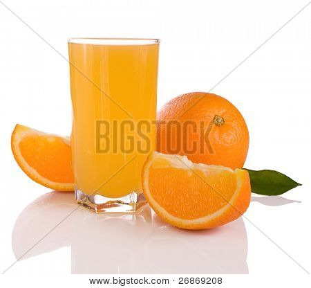 juice and oranges isolated on white background