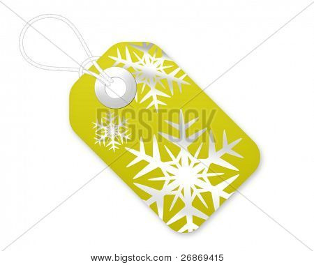 Christmas Gift Tag With Snowflakes In Yellow
