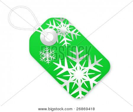 Christmas Gift Tag With Snowflakes In Green