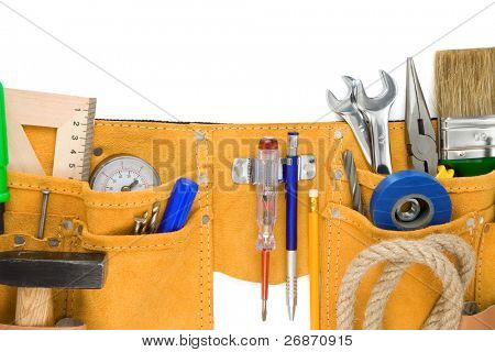 tools in leathern belt isolated on white background