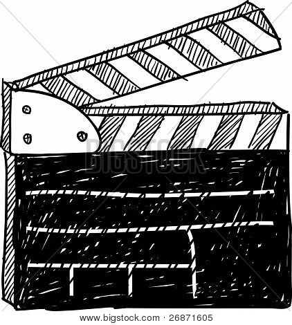 Movie clapperboard sketch