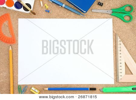 school and office accessory with blank sheet