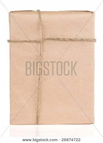 parcel wrapped tied with rope isolated on white background