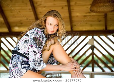 Portrait of a beautiful young luxury woman with a long hair