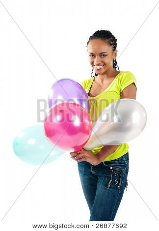 happy black women with the balloons