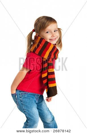 portrait of a happy little girl in a striped scarf