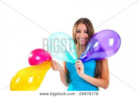 happy cute women with the balloons