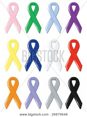 Twelve satin awareness ribbons, supporting various social causes and finding cures for cancers and diseases
