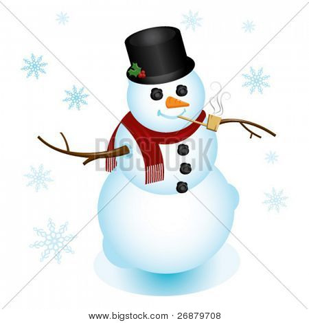 Illustration of classy snowman, dressed up with top hat and pipe; perfect for any Christmas or winter project.