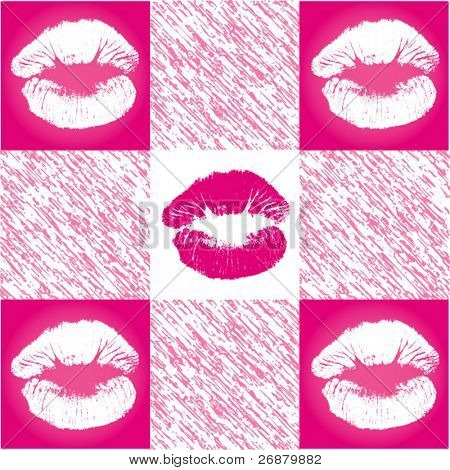Cute pink and white checkered lip pattern