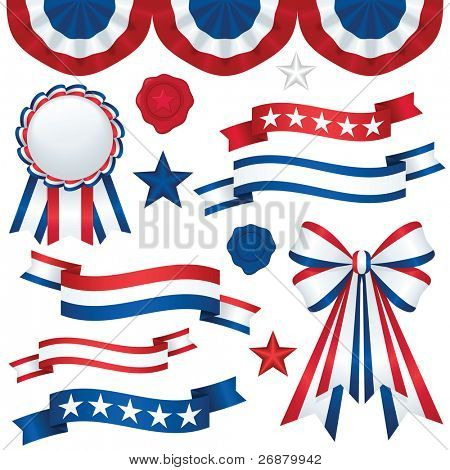 Image version of a collection of patriotic emblems, including banners, ribbons, and bunting in traditional red, white and blue
