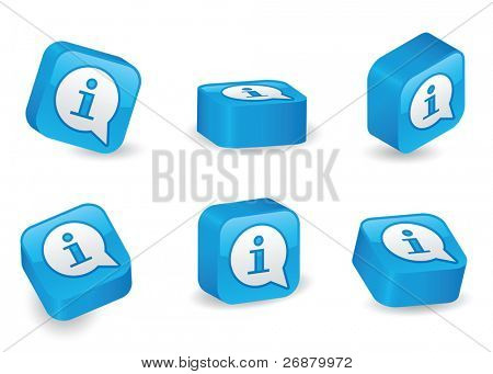 Info (?i?) icon on vibrant, glossy, three-dimensional blocks in various positions
