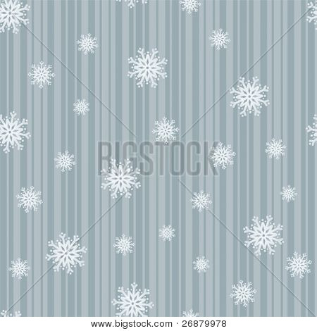 Icy blue snowflakes on stripes in a seamless composition