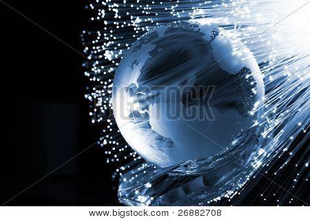 Fondo de fibra óptica con un montón de puntos de luz