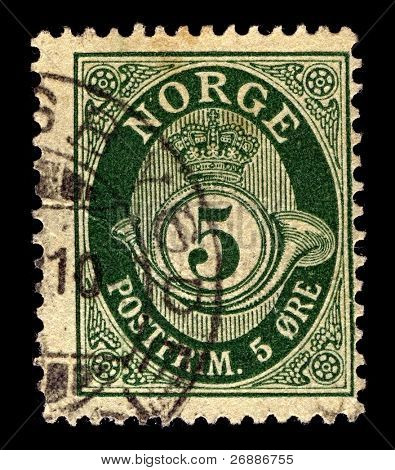 NORWAY-CIRCA 1883:A stamp printed in NORWAY shows image of post horn, circa 1883.