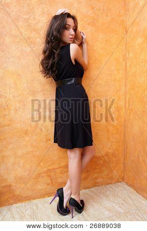 Mode Foto einer jungen schönen Dame in Kleid mit Nizza Schuhe