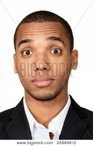 Closeup portrait of a young surprised african-american businessman isolated on white background