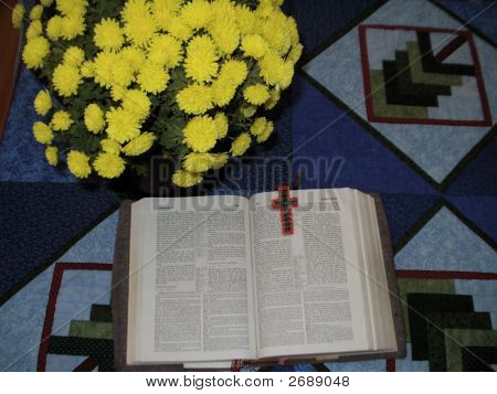 Open Bible With Flowers
