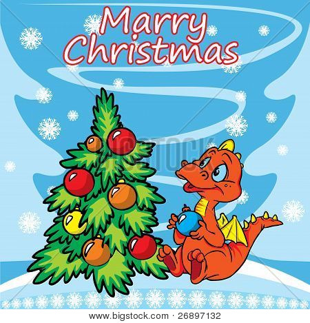 Christmas greeting card with dragon and tree