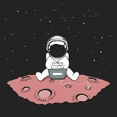 Cute An Astronaut Sits In Internet And Listens To Music On A Computer In Outer Space On Planet.space poster