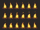 Burning Bonfire Animation. Hot Fire, Outdoor Campfire And Bonfires Cartoon Vector Isolated Sprites F poster