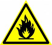 Triangle Sign: danger. Flammable Substances. Sign: danger. Flammable Substances On A Gray Backgr poster