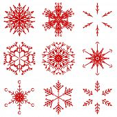 Collection of artistic icy abstract crystal snow flakes isolated on background as winter december de poster