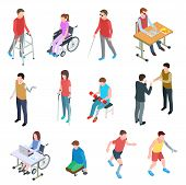 Disabled People Isometric. Persons With Injury In Wheelchair, With Prosthetic Limbs, Blind And Elder poster
