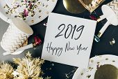 Happy New Year 2019 Hand Brush Stroke Font In White Greeting Card On Marble Table With Party Cup,par poster