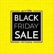Black Friday Sale Banner. Black Friday Sale Poster With Words On Black And Yellow Background. Vector poster