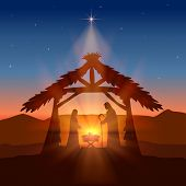 Holiday Theme. Christian Background With Christmas Star And Birth Of Jesus, Illustration. poster