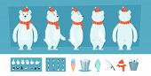Polar Bear Animation. White Wild Animal Body Parts And Different Faces Vector Character Creation Kit poster