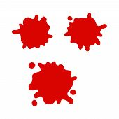 Blood Splatters And Blood Drops. Drop Red Ink Or Red Blood poster