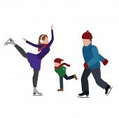 Isometric Isolated Happy Family Skating. Cross Country Skating, Winter Sport. Olimpic Games, Recreat poster