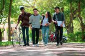 Diversity Student Group Walking Together In University,happy Multiethnic Friend Study In Asian Colle poster