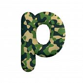 Army letter P - Small 3d Camo font isolated on white background. This alphabet is perfect for creati poster