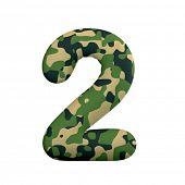 Army number 2 - 3d Camo digit isolated on white background. This alphabet is perfect for creative il poster