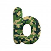 Army letter B - Small 3d Camo font isolated on white background. This alphabet is perfect for creati poster