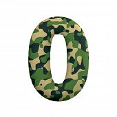 Army number 0 - 3d Camo digit isolated on white background. This alphabet is perfect for creative il poster