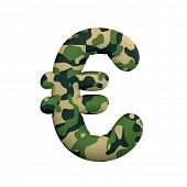 Army euro currency sign - Currency3d Camo symbol isolated on white background. This alphabet is perf poster