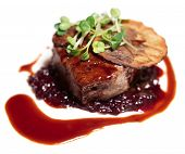 stock photo of chateaubriand  - Tenderloin steak with red sauce - JPG