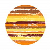 Abrupt Circle Vector Geometric Shape With Stripes Texture Of Paint Horizontal Lines. Old Paint Textu poster