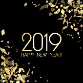 Glittering 2019 Happy New Year Card With Gold Confetti. Foil Texture Gold Glitter Confetti Tinsels B poster