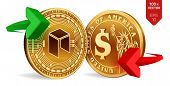 Neo To Dollar Currency Exchange. Neo. Dollar Coin. Cryptocurrency. Golden Coins With Neo And Dollar  poster