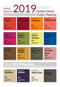 London Fashion Week Spring Summer 2019 Color Palette. Colors Of The Year. Palette Fashion Colors Gui poster
